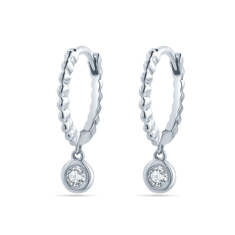 Continental Collection 0.10 ctw Diamond Huggie Drop Earrings