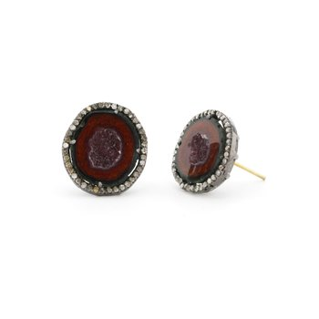 Geode & Diamond Halo Post Earrings