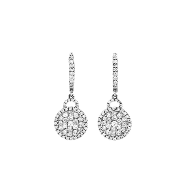 Continental Collection 0.95 ctw Diamond Drop Huggie Earrings