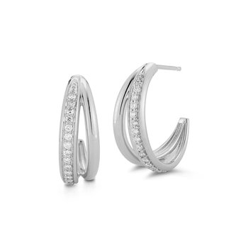 0.34 ctw Diamond Hoop Post Earrings