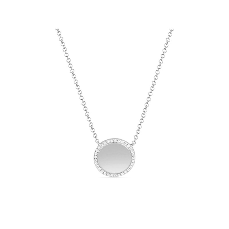 Continental Collection 0.11 ctw Diamond Circle Disc Necklace