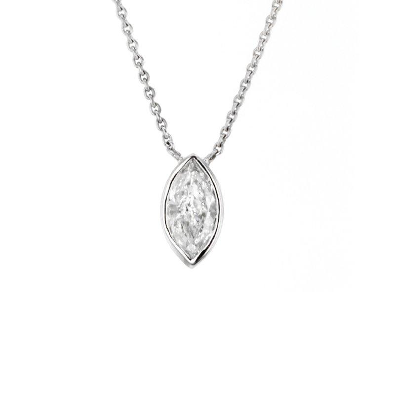 CD Diamonds 0.48 ct Marquise Diamond Bezel Solitaire Necklace