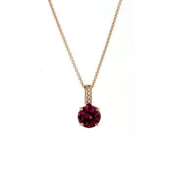 Garnet & Diamond Drop Pendant