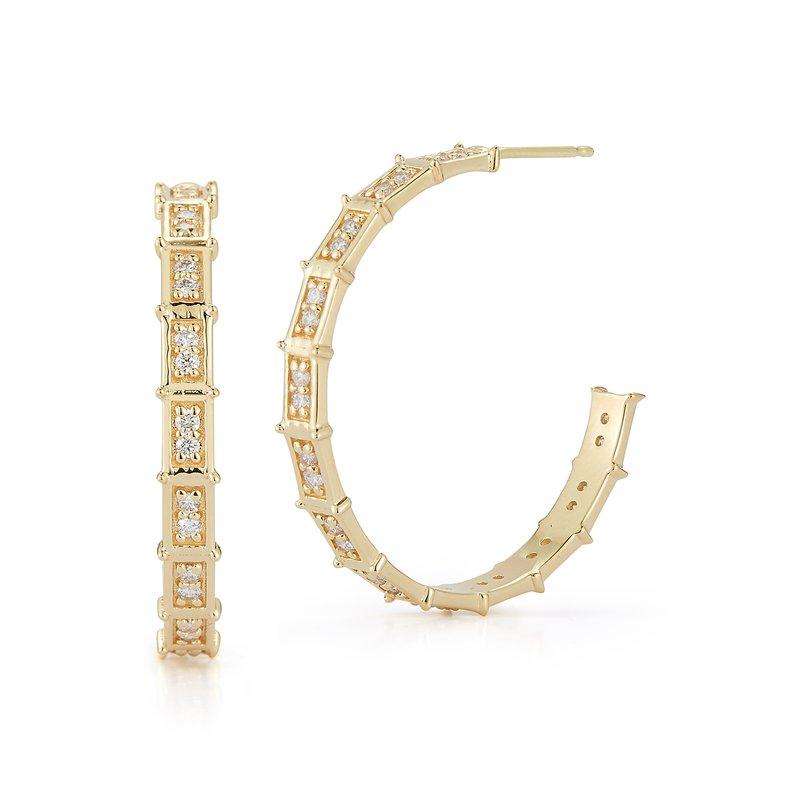 Barbela Design 0.65 ctw Diamond Hoop Post Earrings