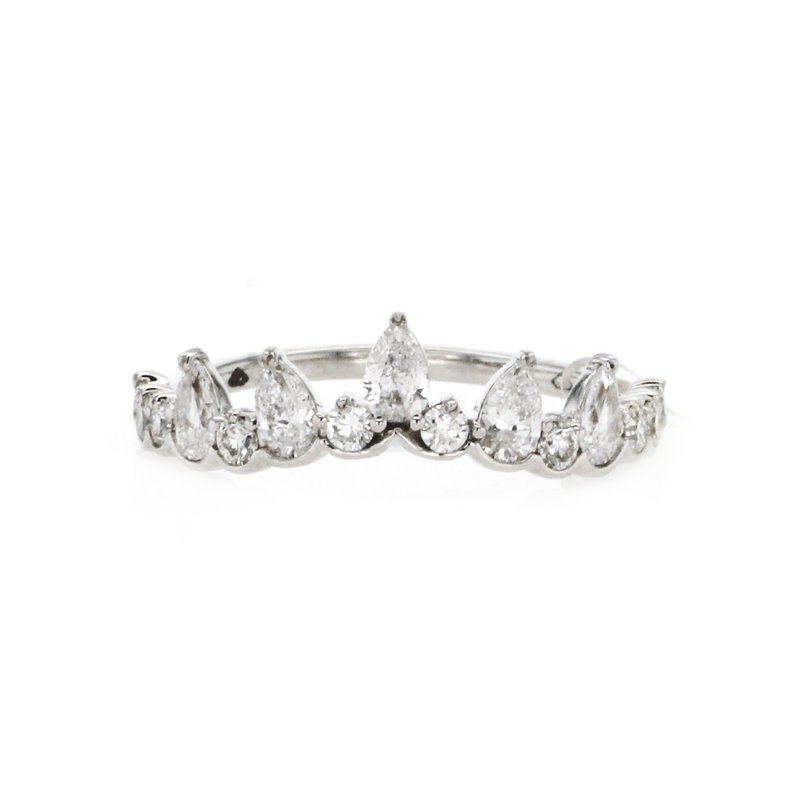 Continental Collection 0.76 ctw Contoured Pear & Round Diamond Band