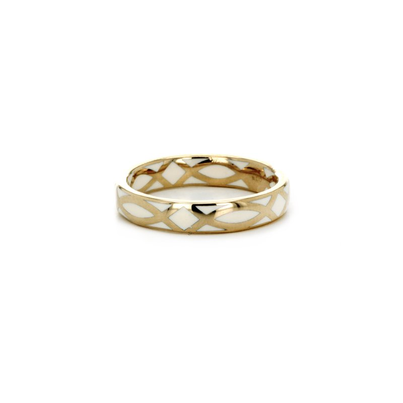 Signature Collection White Enamel and Gold Ring