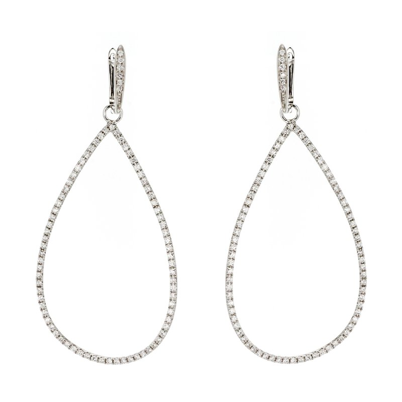 Continental Collection 1.10 ctw Diamond Pear Drop Hoop Post Earrings