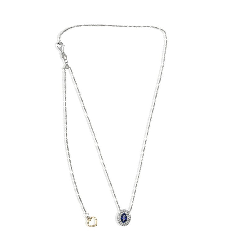Continental Collection Blue Sapphire & Diamond Halo Necklace
