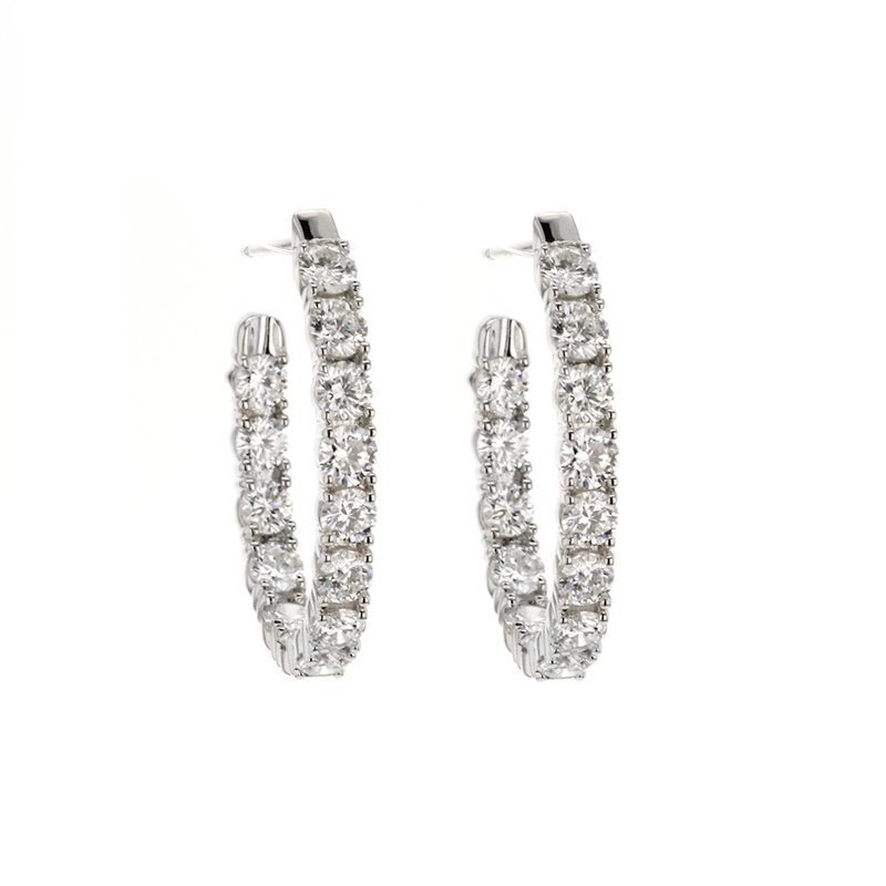 """Continental Collection 2.75 ctw Diamond 3/4"""" Inside-Out Hoop Earrings"""