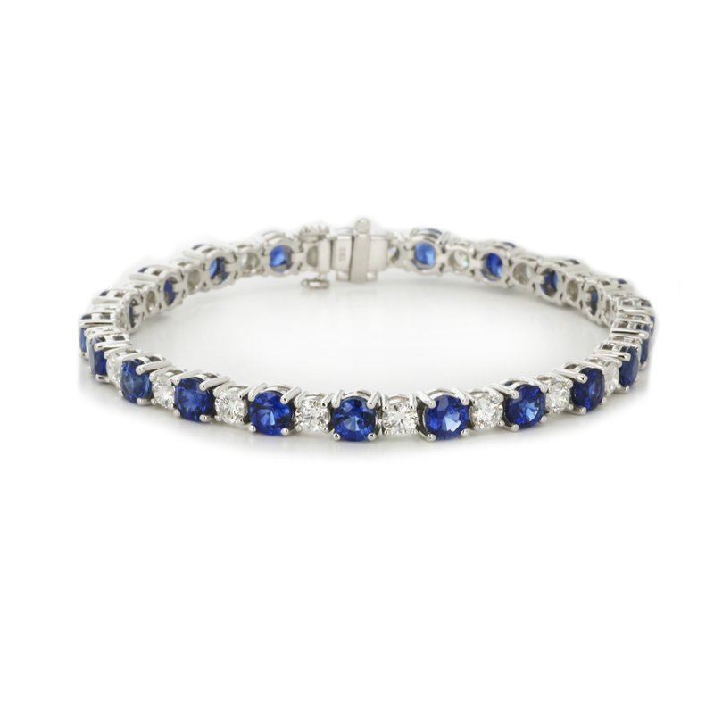 Continental Collection Blue Sapphire & Diamond Tennis Bracelet