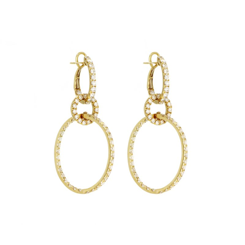 Continental Collection Diamond Oval Drop Earrings