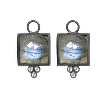 LABRADORITE SQUARE OXIDIZED EARRING JACKETS