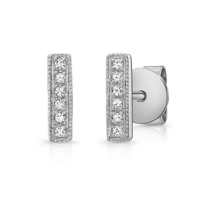 Continental Collection 0.04 ctw Diamond Bar Post Earrings