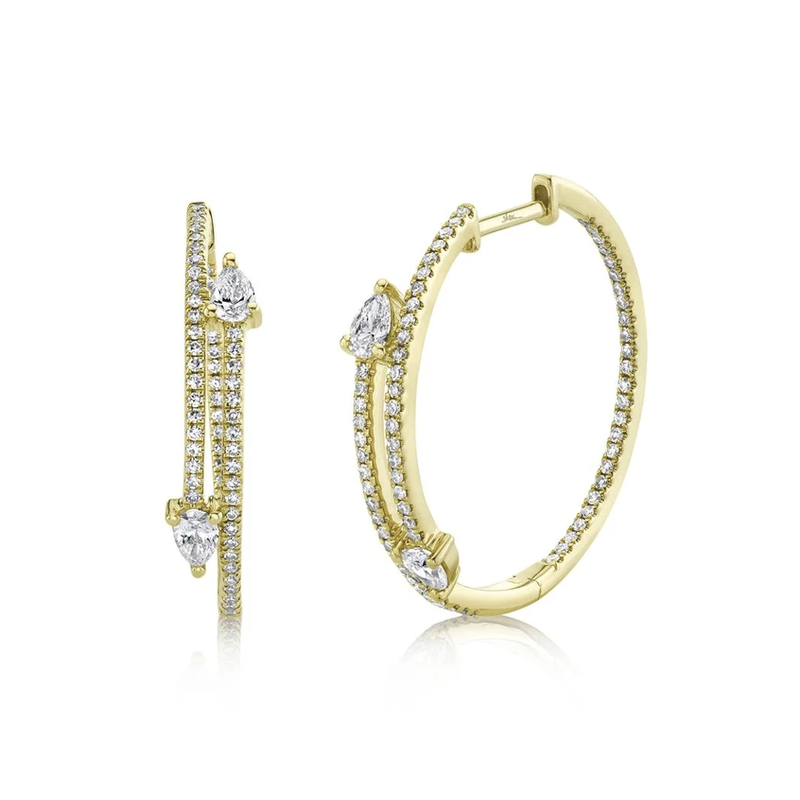 Shy Creation 0.85 ctw Diamond Round Inside-Out Hoop Earrings