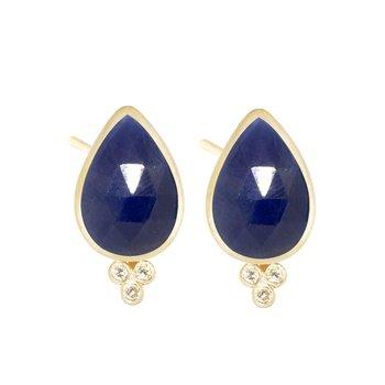 Blue Sapphire & Diamond Post Earrings