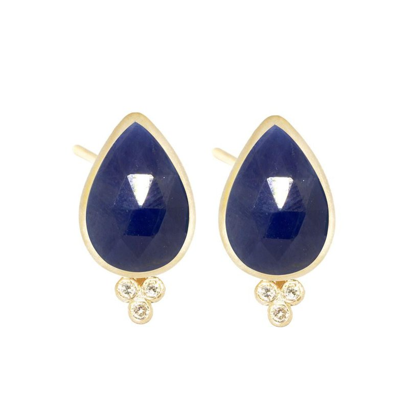 Nina Nguyen Designs SMALL BLUE SAPPHIRE 18K STUD EARRINGS