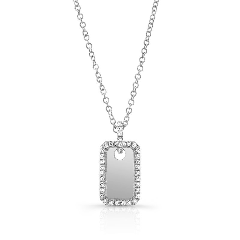 Continental Collection 0.11 ctw Diamond Tag Pendant Necklace