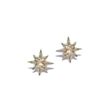 Mini Aztec Starburst Clear Topaz Studs