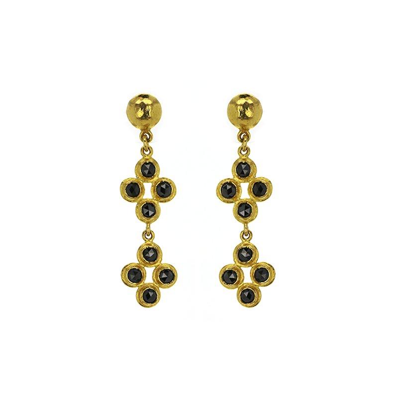 ARA Collection 1.40 ctw Black Diamond 24K Drop Post Earrings