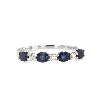 Oval Blue Sapphire & Round Diamond Band