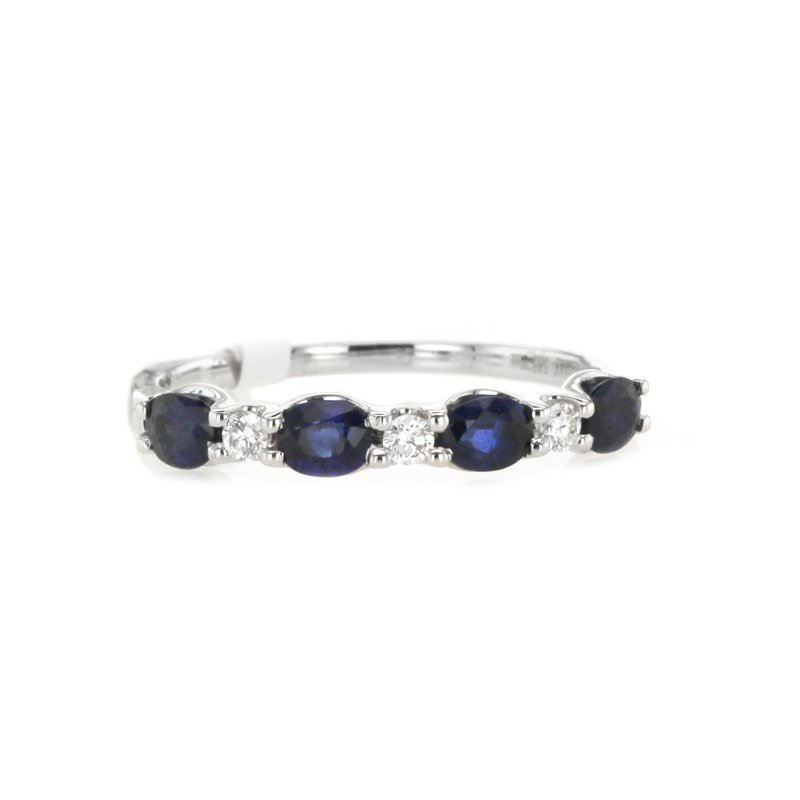 Continental Collection Oval Blue Sapphire & Round Diamond Band