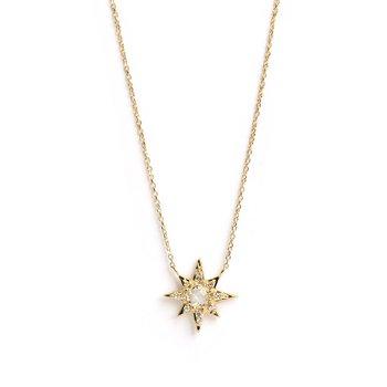 White Topaz and Diamond Starburst Necklace