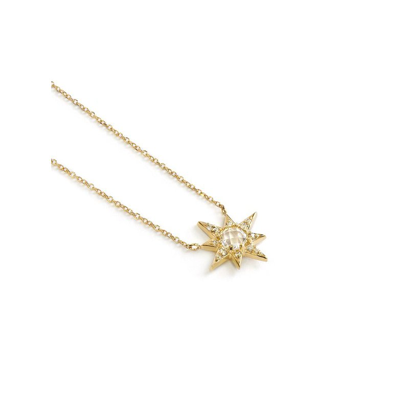 Anzie White Topaz and Diamond Starburst Necklace