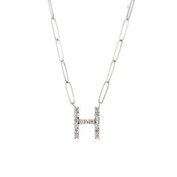 "0.45 ctw Diamond ""H"" Necklace"