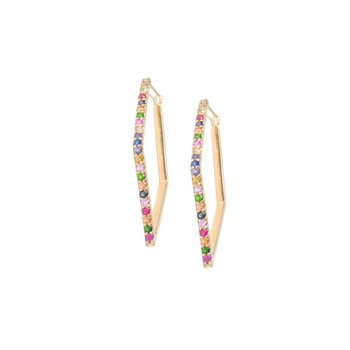 Cléo Geometric Thick Pavé Multicolored Sapphire Hoops