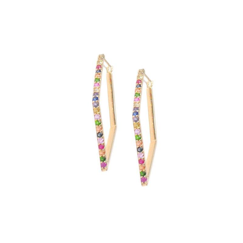 Anzie Cléo Geometric Thick Pavé Multicolored Sapphire Hoops