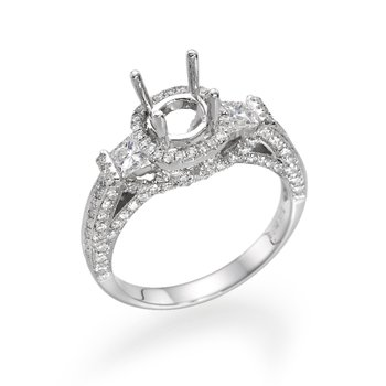 14K White Gold Vintage Three-Stone Halo Engagement Ring Mounting