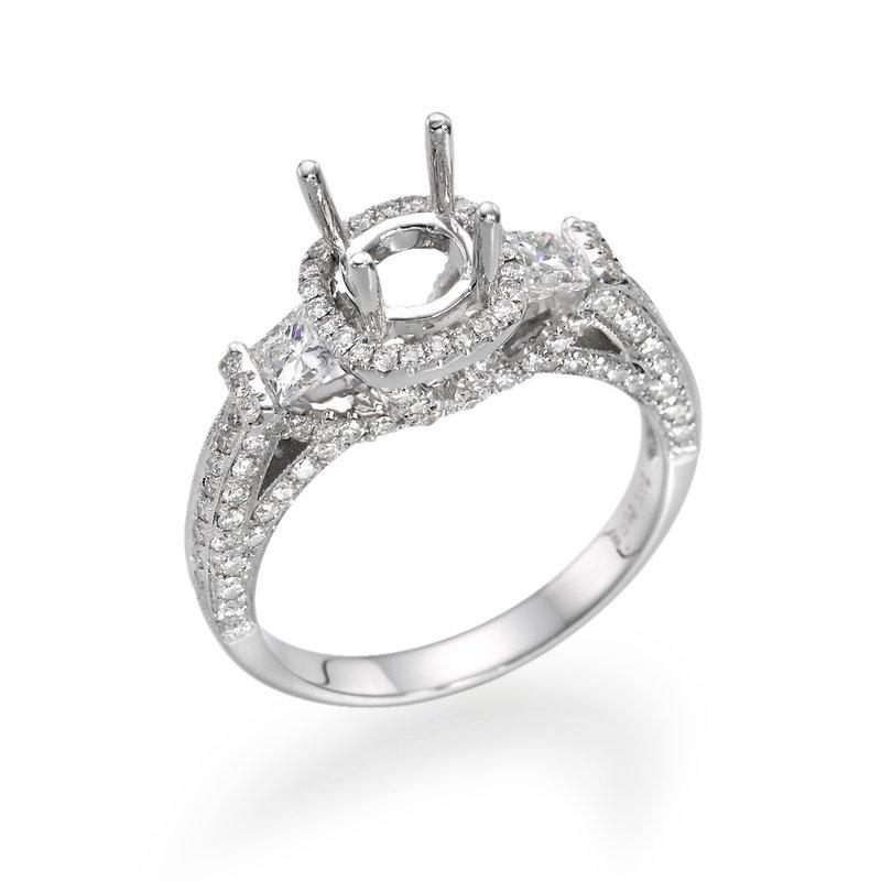 14K White Gold Vintage Three-Stone Halo Engagement Ring Mounting