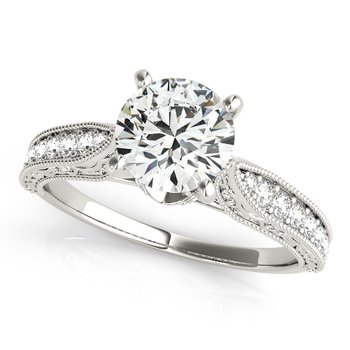 Vintage Inspired Round Diamond Engagement Ring Mounting
