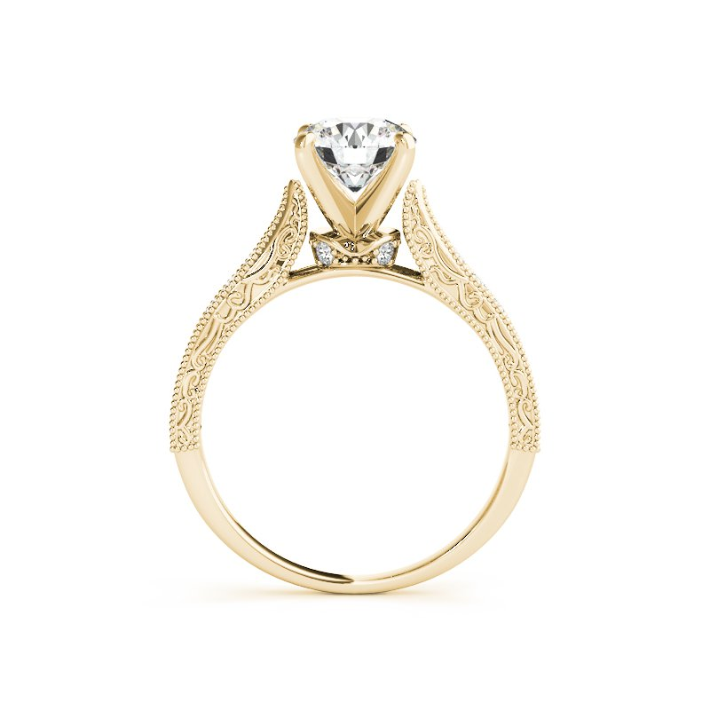 Vintage Inspired Round Diamond Engagement Ring Mounting