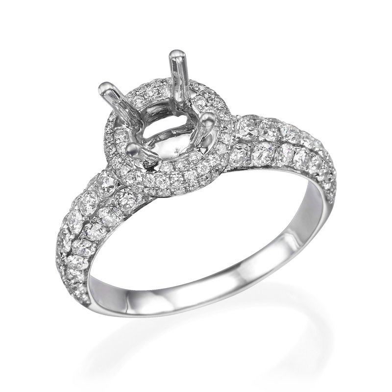 18K White Gold 1.00Ctw Diamond Mounting