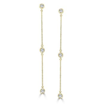 14K Gold Diamond Station Dangle Earrings
