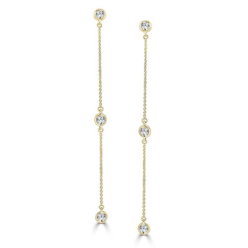 14K Gold Diamond Station Dangle Earrings