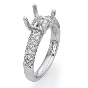 Platinum Pave Engagement Ring Mounting
