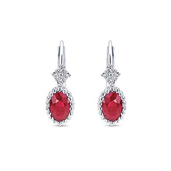 14K White Gold Ruby Dangle Earrings