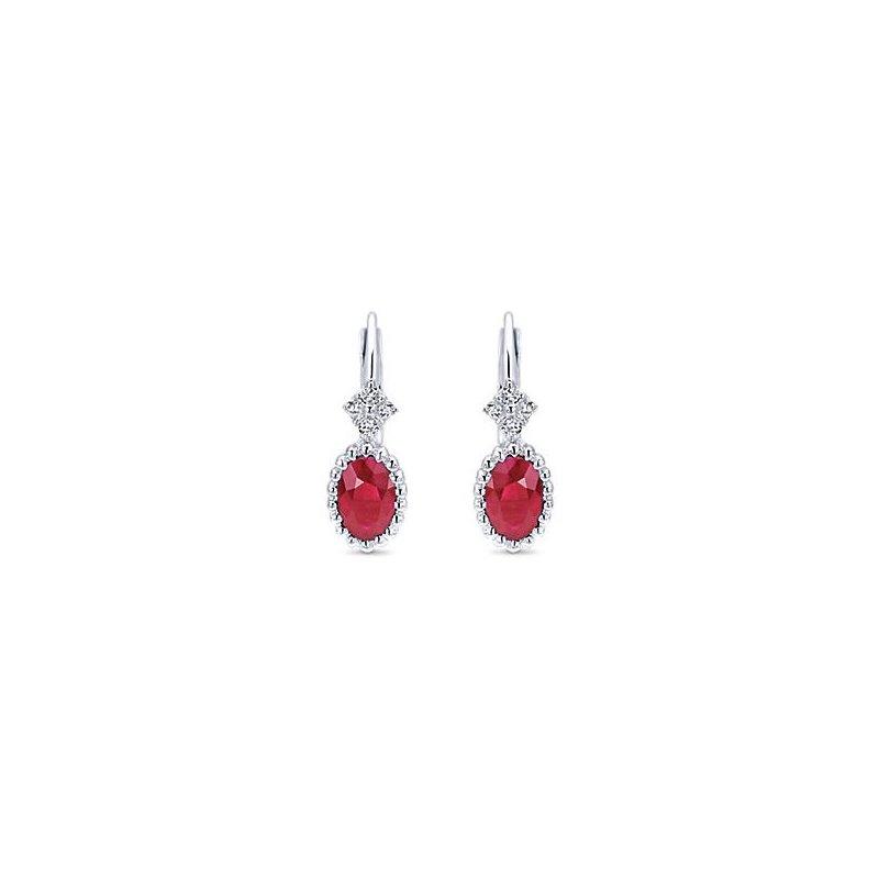 14K White Gold Ruby Dangle Earrings