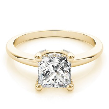 Hidden Diamond Solitaire Princess Engagement Ring Mounting
