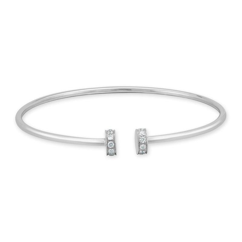 18K Gold Bangle Diamond Accent Bracelet