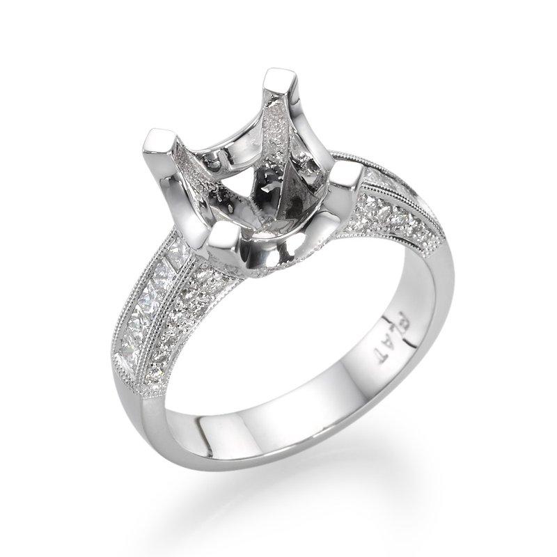 Platinum Milgrain 1.00 Ctw Engagement Ring Mounting