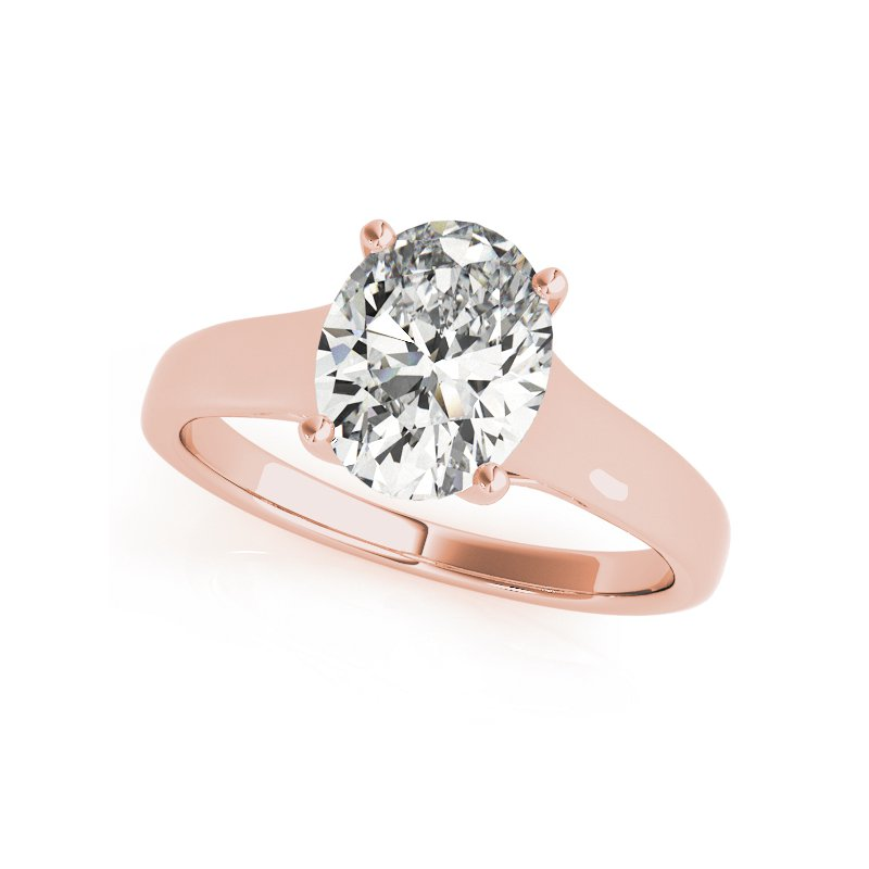 Classic Wide Solitaire Oval Engagement Ring Mounting