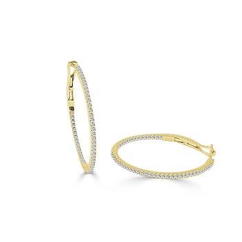 """14K Gold & Diamond Skinny Hoop Earrings - 0.75"""""""