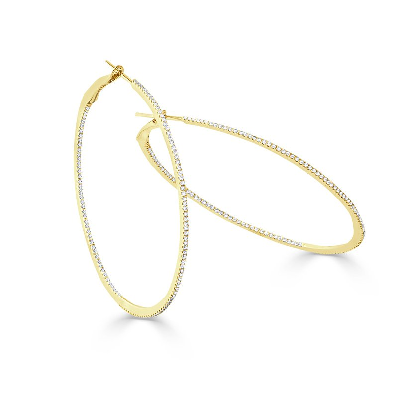 14K Gold 2.5 Inch Thin Diamond Hoops
