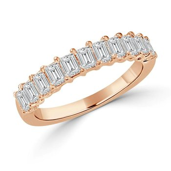 14K Gold Emerald Diamond Band
