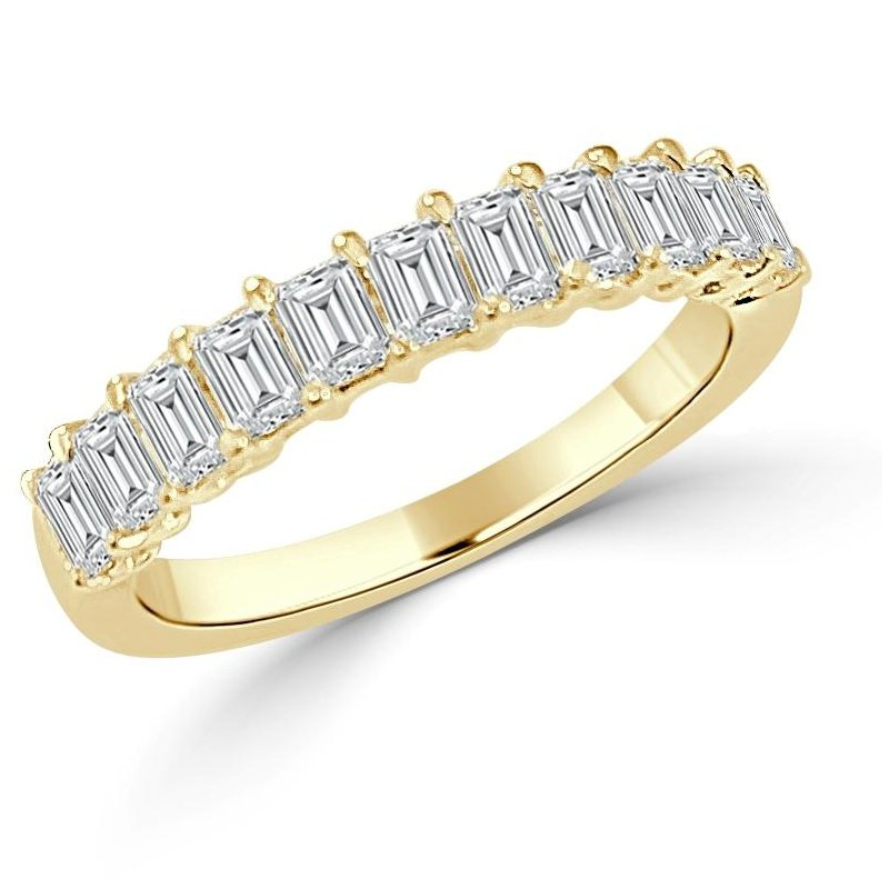 14K Gold Emerald Diamond Band
