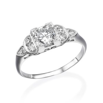 14K White Gold Vintage Milgrain Engagement Ring