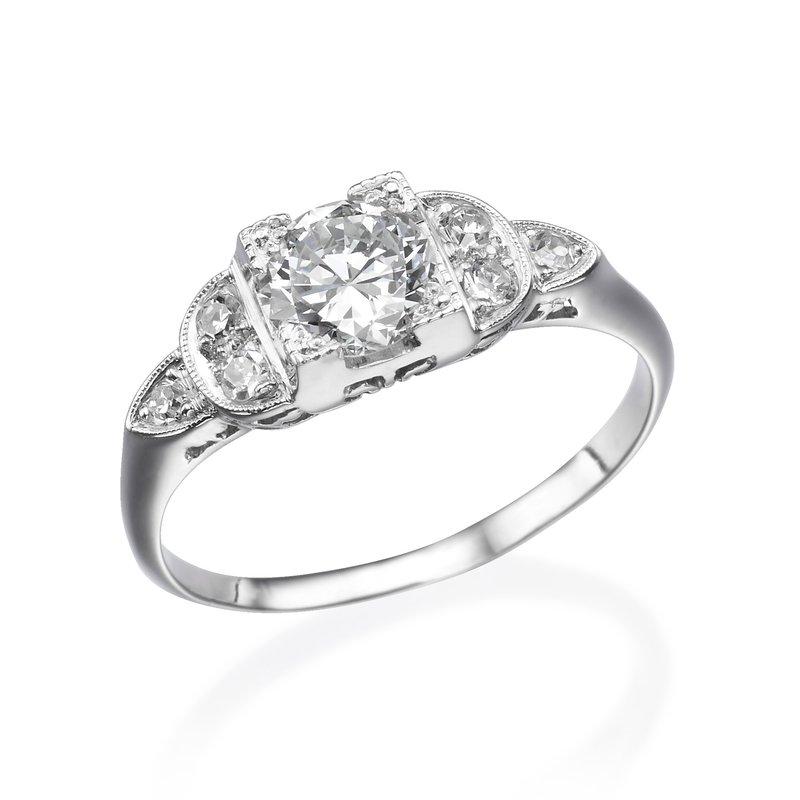 14K White Gold Vintage Milgrain Engagement Ring